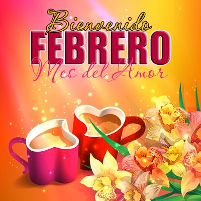 Bienvenido Febrero Imagen con corazones y flores