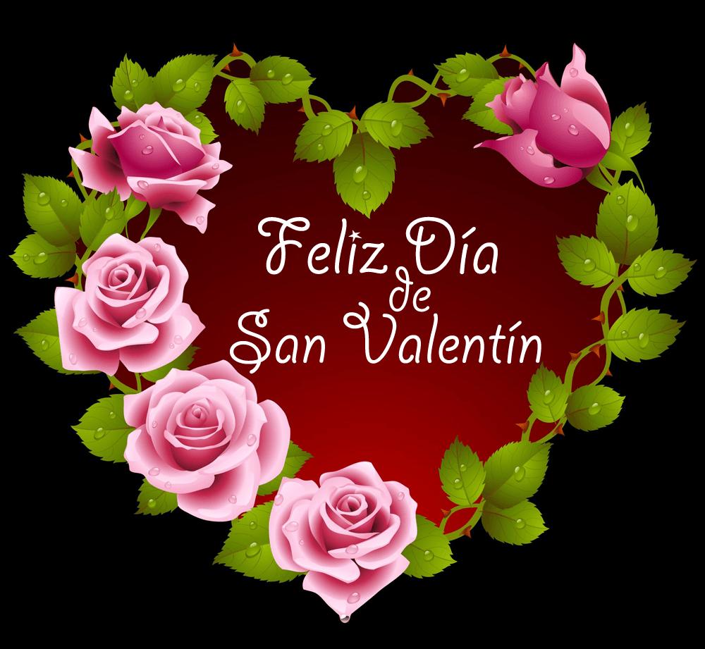 Corazón con Rosas Feliz día de San Valentín