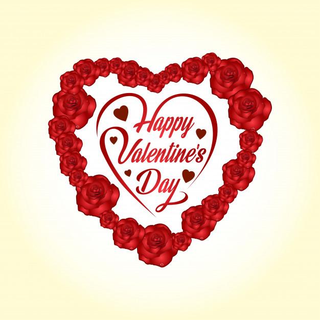 Corazon Rosas para Enviar Happy Valentine day