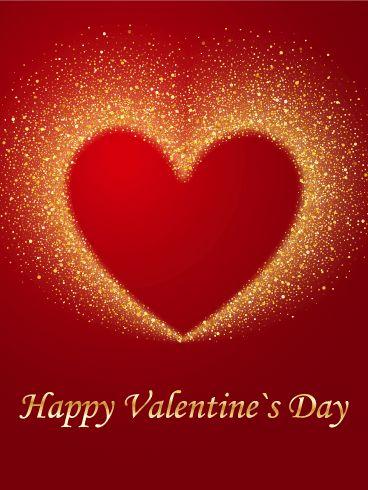 Corazon con Brillos Dorados Feliz Dia De San Valentin