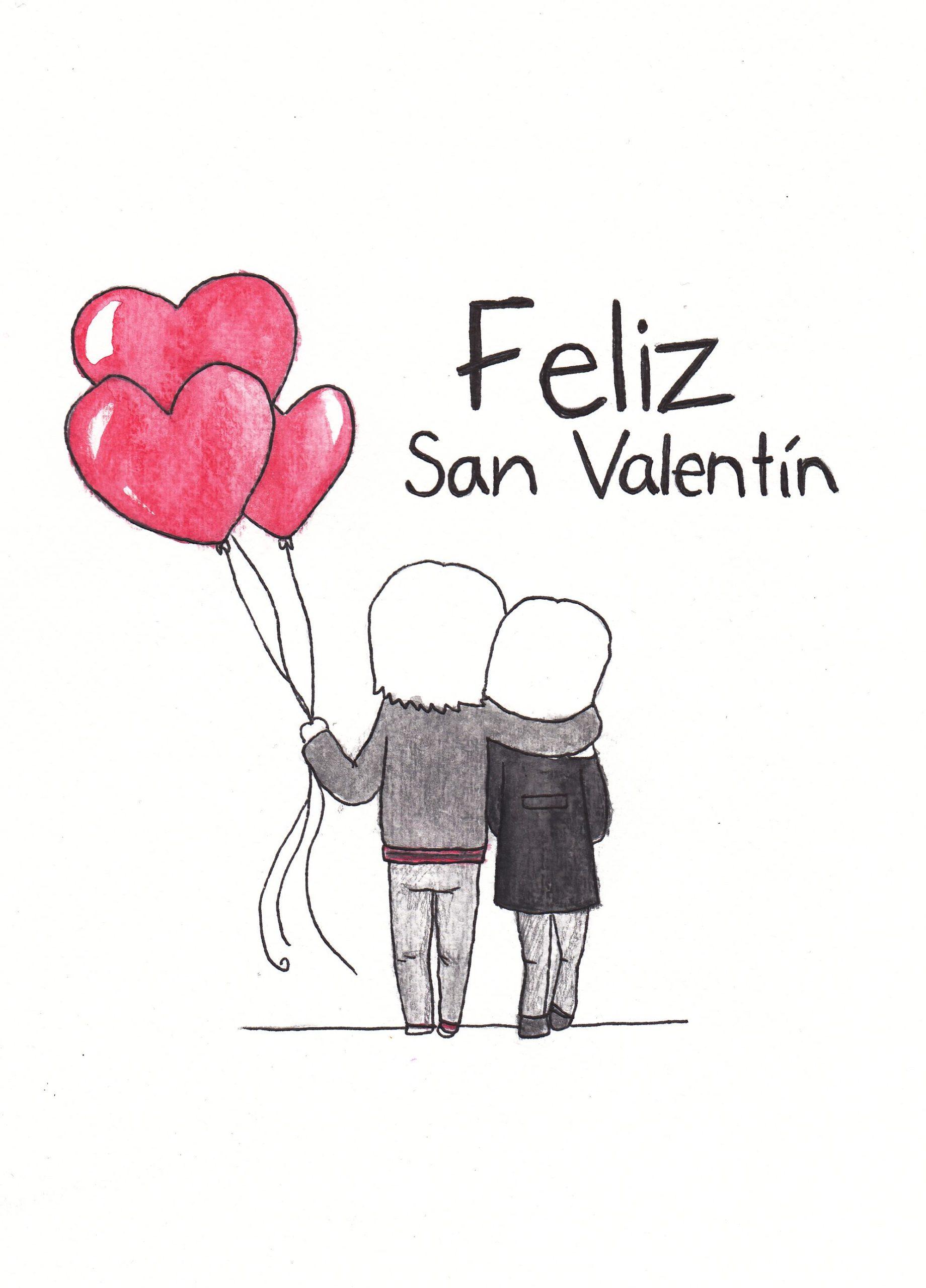 Feliz San Valentin pareja y corazones