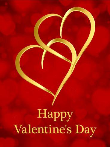 Imagen Con Dos Corazones Entrelazados Dorados Feliz Dia De San Valentin