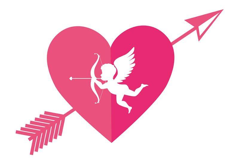 Imagen de un corazón flechado y cupido para san valentín