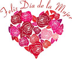 Feliz día de la mujer imagen de un corazón con rosas