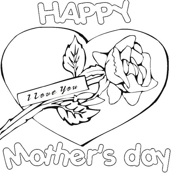 Dibujo corazon y rosa colorear dia de la madre