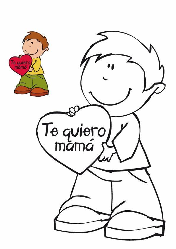 Dibujos colorear Te quiero mama