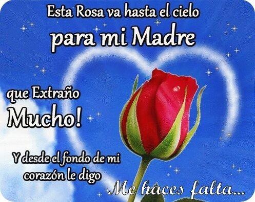 Flores y corazones con frases te extraño para una madre en el cielo