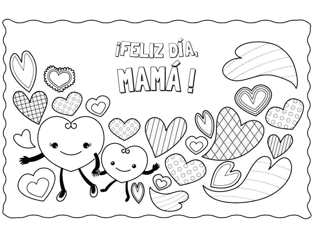 Imagenes para colorear de corazones para mama