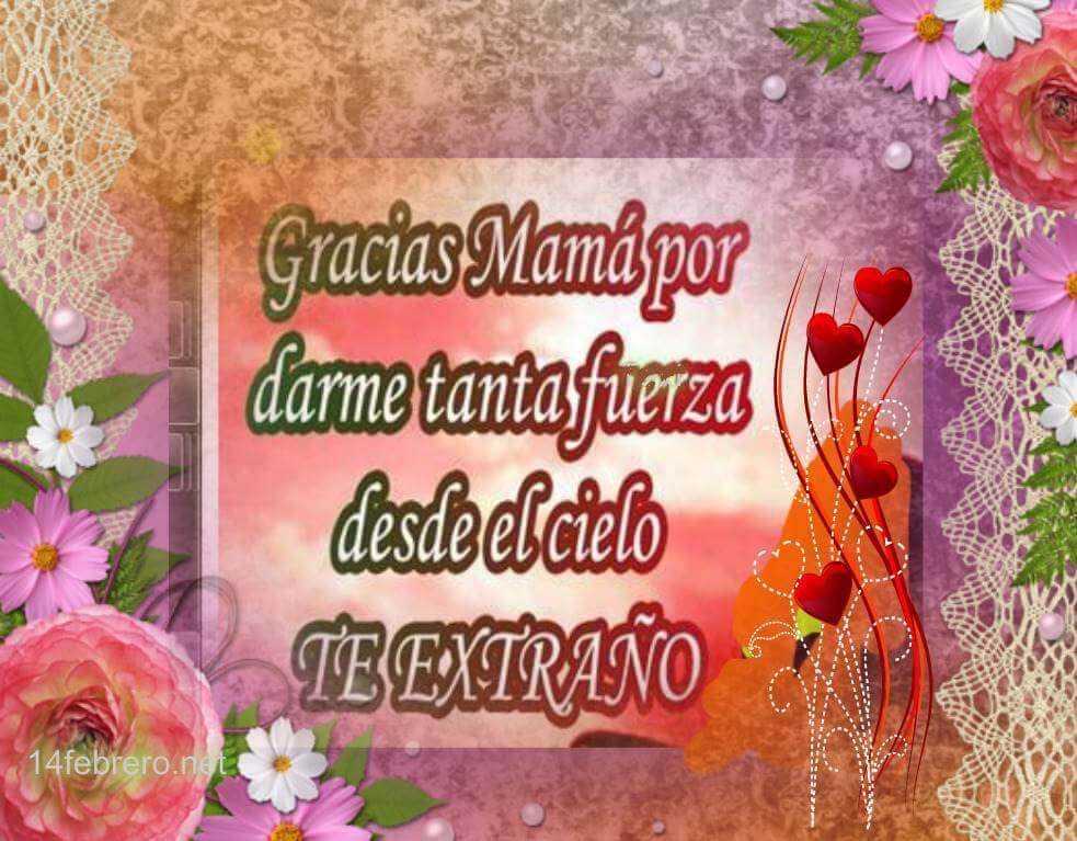 Mensajes para una madre en el cielo en imagenes de corazones y flores
