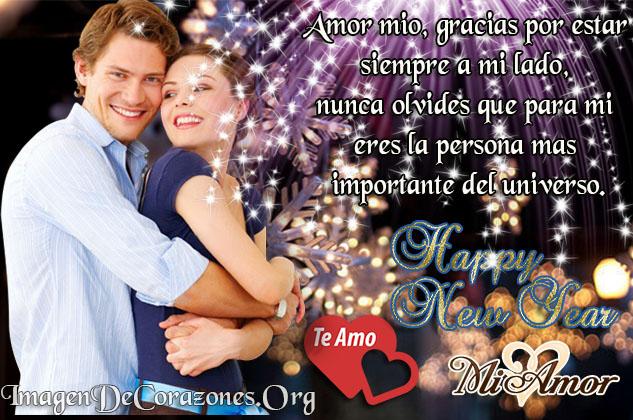 Postal de amor con mensaje para desear un feliz año a mi amor
